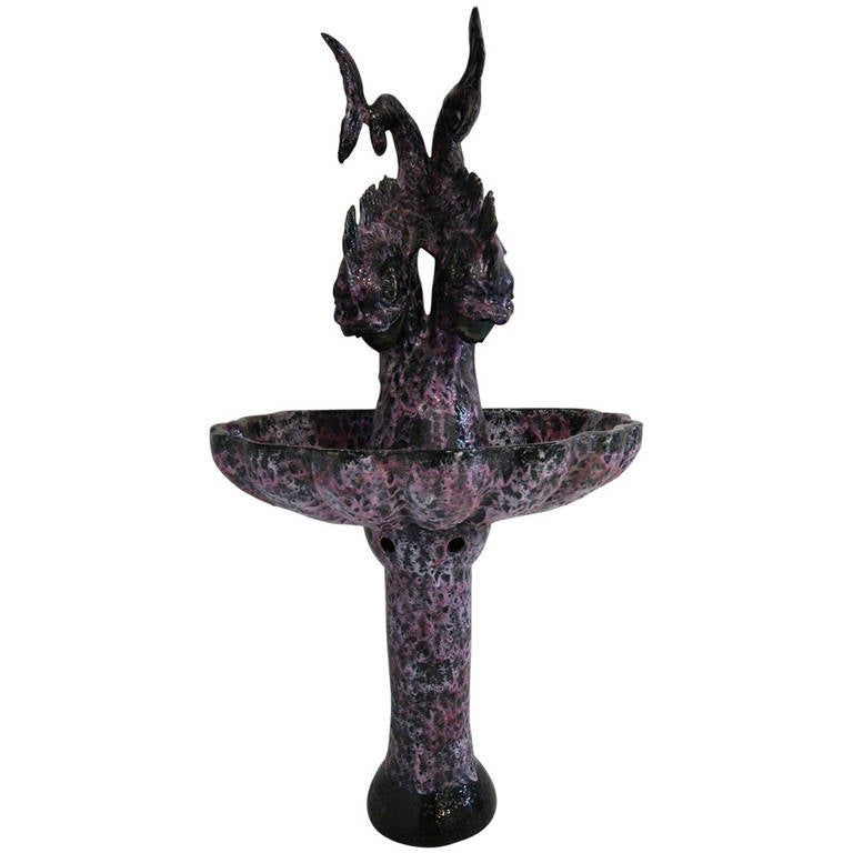 Large 1950s Vallauris Enlightening Fountain For Sale