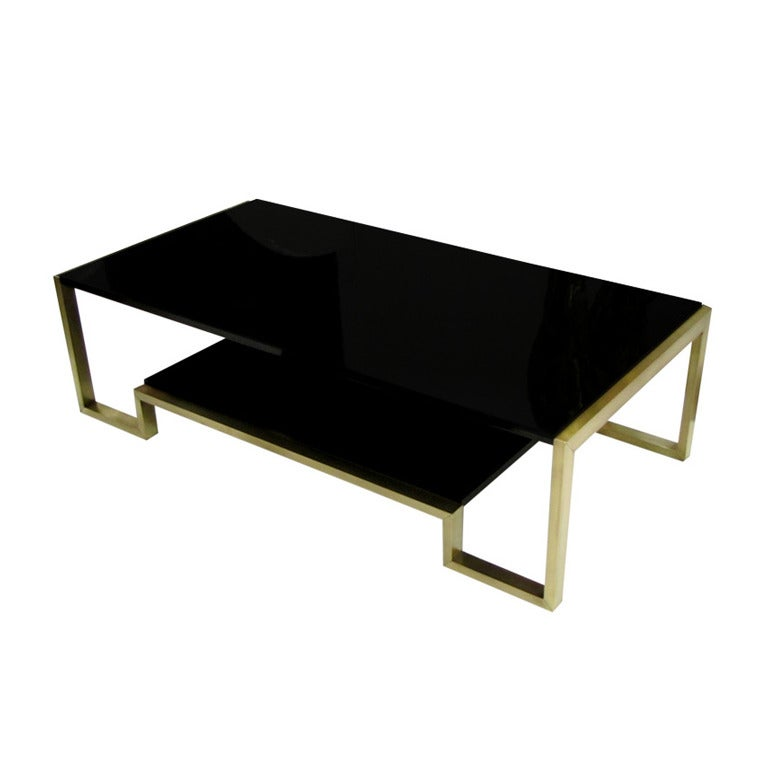 Nice 1970s Coffee Table In Brass And Black Lacquer At 1stdibs