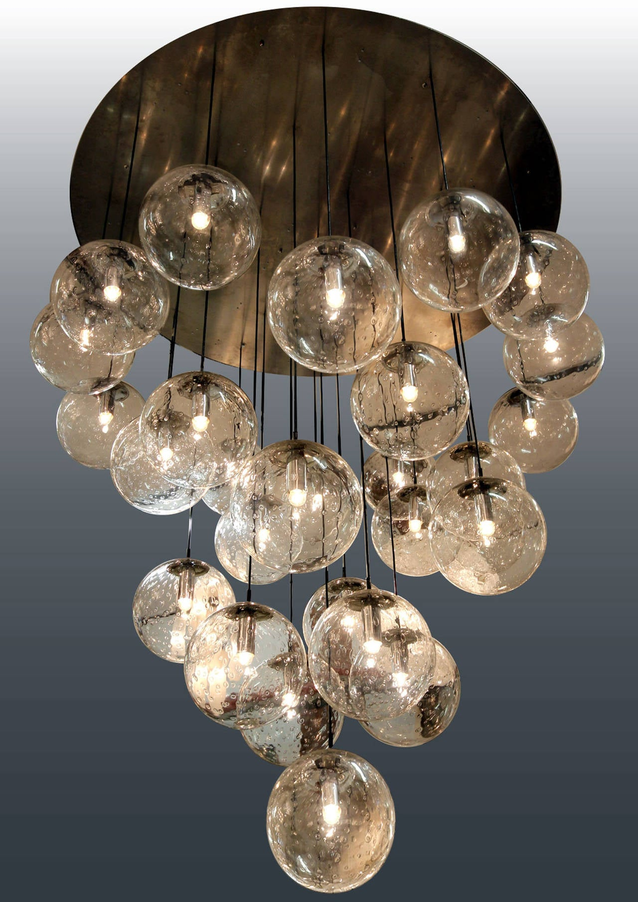 Amaizing 1970s huge glass balls chandelier by Raak Amsterdam at – Chandelier Glass Balls