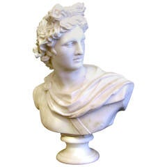 Large Beautiful Apollo Bust in Carrara Marble, after the Antique