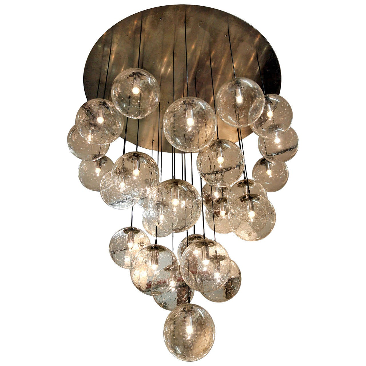 Amaizing 1970 S Huge Glass Balls Chandelier By Raak Amsterdam At 1stdibs