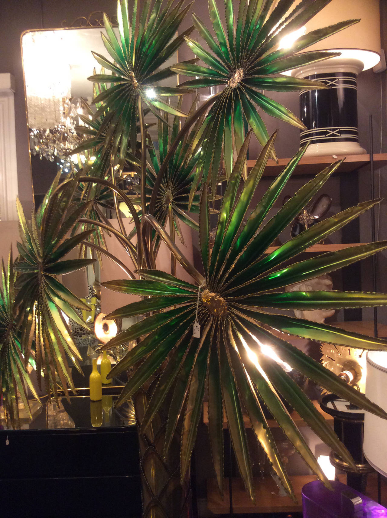 Large 1980s Lighting Palm Tree By Slb At 1stdibs