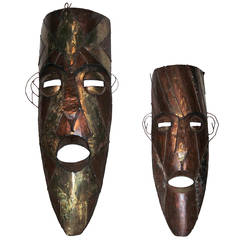 Set of Two 1970s Large Tiki Masks