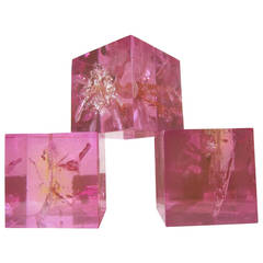 Three cubes in pink fractal resin