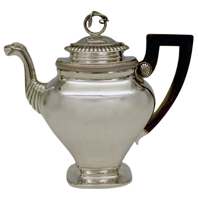 Circa 1830s, .875 fineness silver, by Albertus Homan, Amsterdam, Netherlands. After two hundred years, this coffee pot is as urbane and au courant as the day it was made. The Nederlandish traveled and traded everywhere; their taste was global and