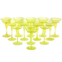 Set of 13 Yellow Venetian Champagnes, Stemware