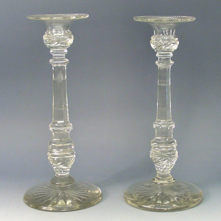 Pair Of Late Georgian Tall Cut Crystal Candlesticks At 1stdibs