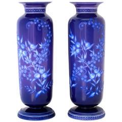 Stevens & Williams Intaglio Cut Case Art Glass Vases