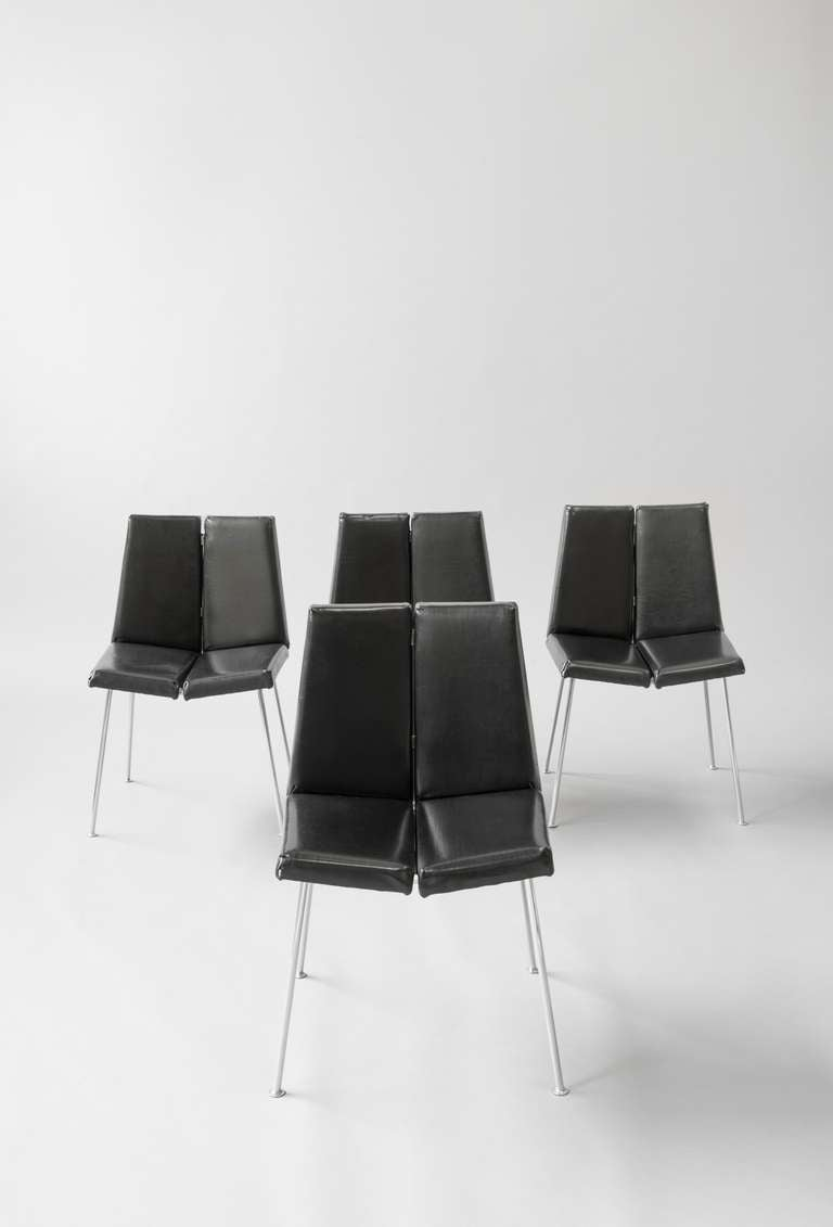 set of four cg1 chairs by pierre guariche sieges temoins. Black Bedroom Furniture Sets. Home Design Ideas