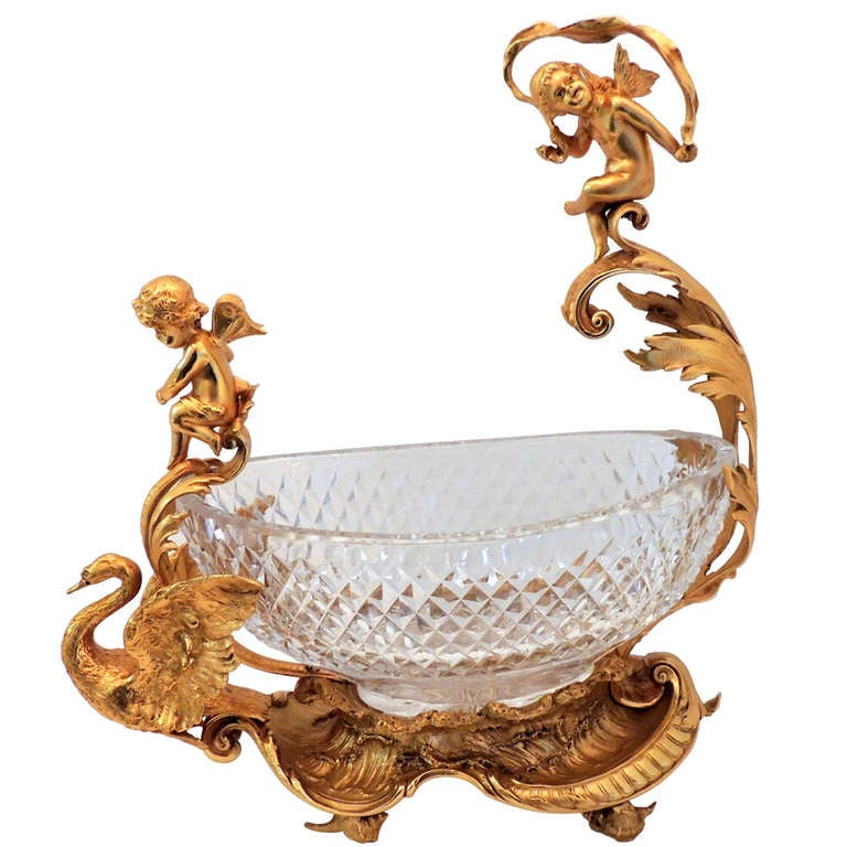 Exceptional French Figural Dore Bronze and Cut Crystal Centerpiece For Sale
