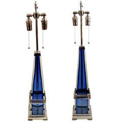 Stunning Pair Of Reto Modern Deco Blue Glass & Silvered Bronze Two Light Lamps