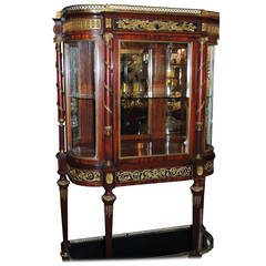 Outstanding 19th Century French Rosewood Ormolu Bronze Mounting Vitrine, Curio