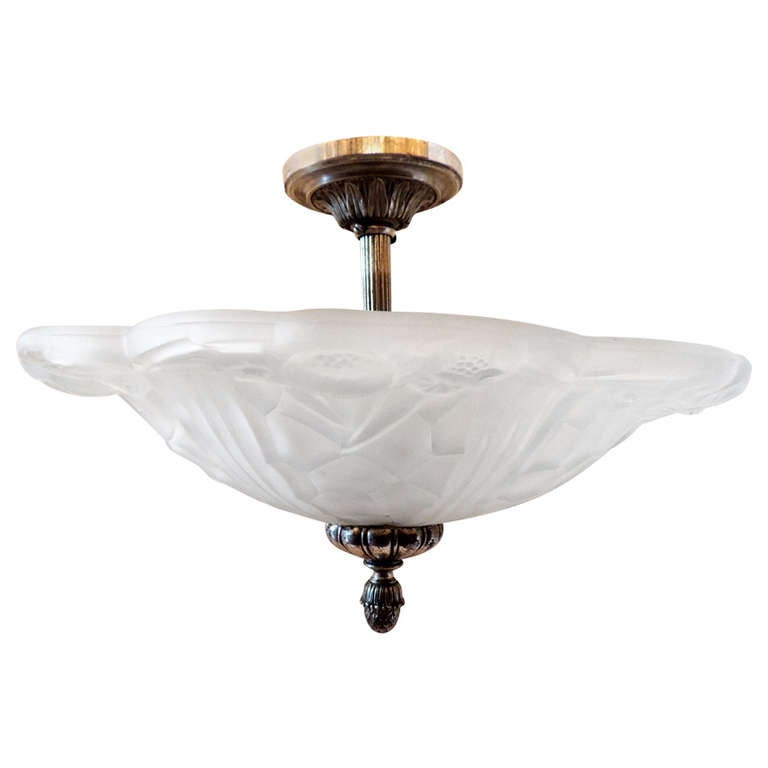 Wonderful French Art Deco Silvered Bronze and Art Glass Flush Mount Fixture For Sale