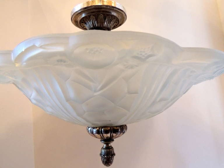 Wonderful French Art Deco Silvered Bronze and Art Glass Flush Mount Fixture In Good Condition For Sale In Roslyn, NY