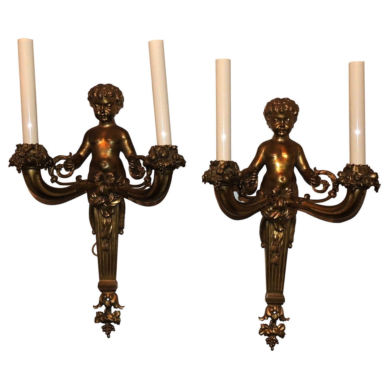 Wonderful Pair of French Doré Bronze Cherub Putti Figural Two-Arm Sconces