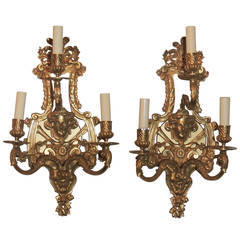 Very Fine French Pair of Doré Bronze Three-Arm Figural Sconces