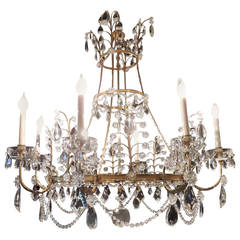 Very Large Fine French Neoclassical Bronze Crystal Eight-Light Baltic Chandelier