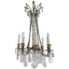 Bagues Style Eight-Light Gilt Bronze and Rock Crystal French Chandelier