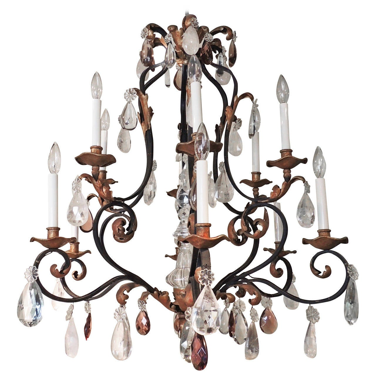 Beautiful large wrought iron and gilt chandelier with amethyst and beautiful large wrought iron gilt chandelier with amethyst rock crystals arubaitofo Images