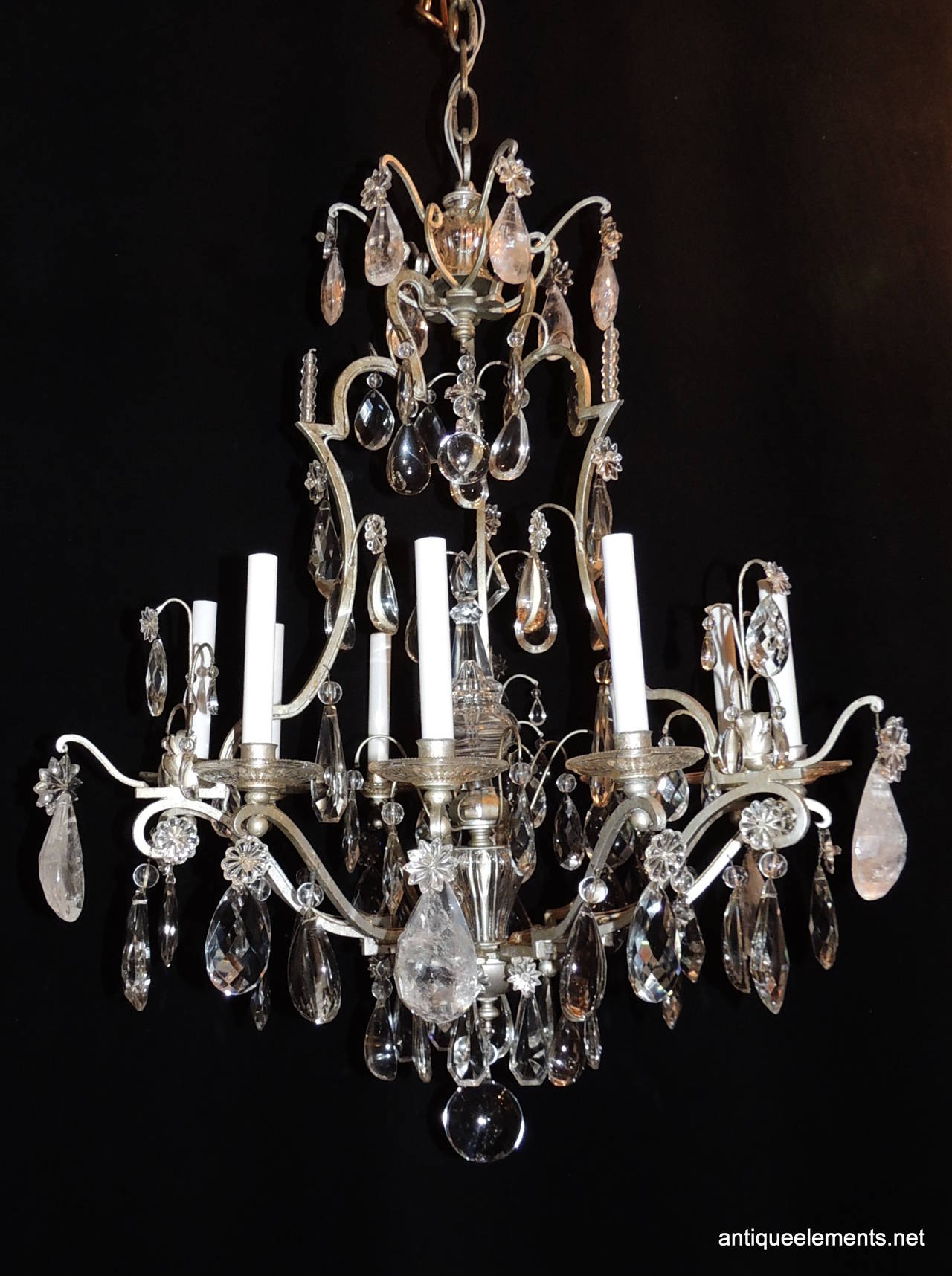 Original Bagues Nine Light Silvered Chandelier with Rock and