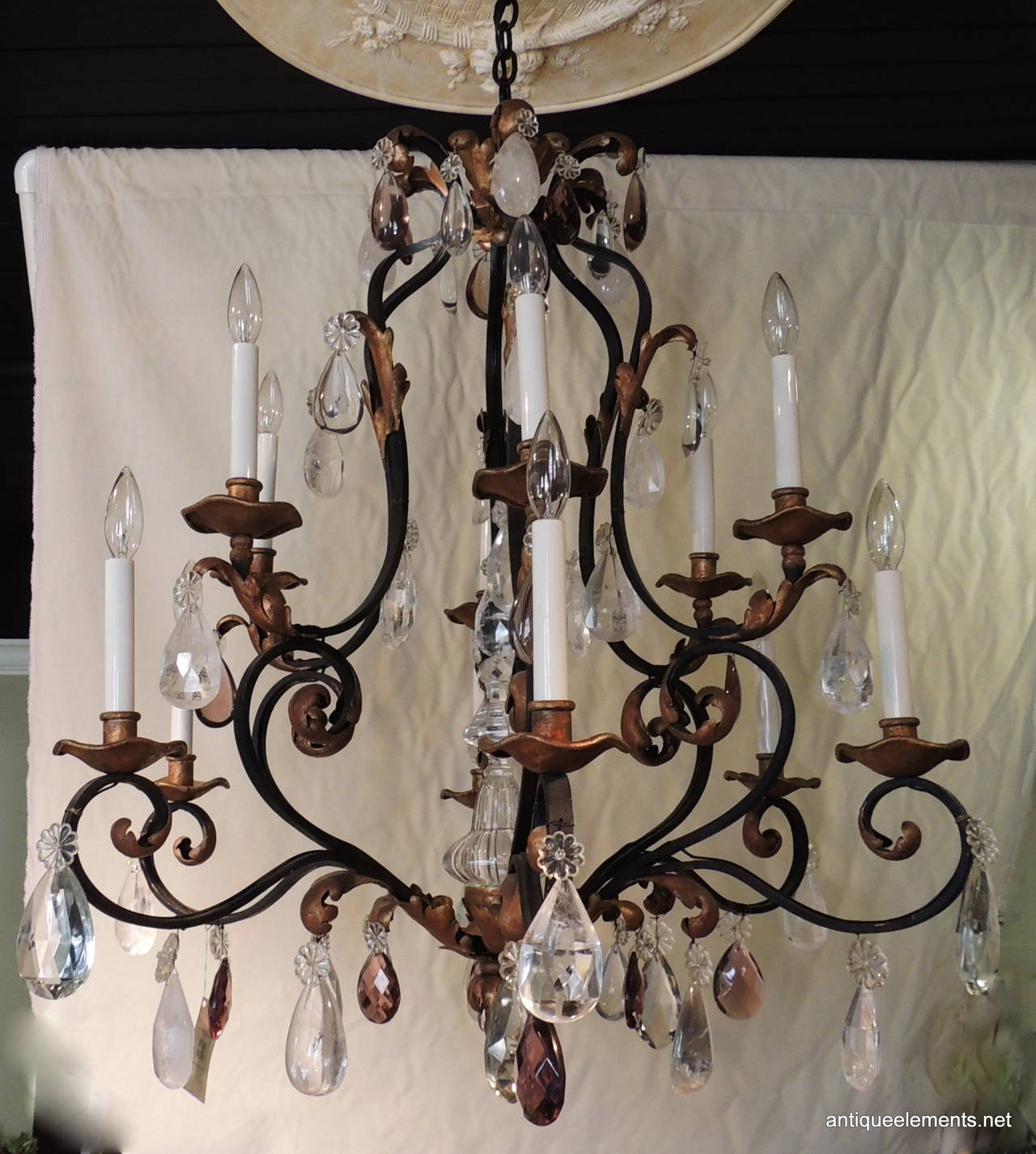 Beautiful large wrought iron and gilt chandelier with amethyst and belle poque beautiful large wrought iron gilt chandelier with amethyst rock crystals arubaitofo Images