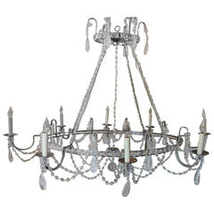 Wonderful Vintage Oval Beaded and Rock Crystal Transitional Silvered Chandelier