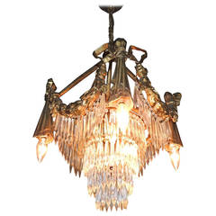 Wonderful French Gilt Bronze and Crystal Tear Drop Bows and Swag Chandelier