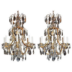 Wondeful Pair of French Gilt Bronze and Rock Crystal Eight-Arm Chandeliers