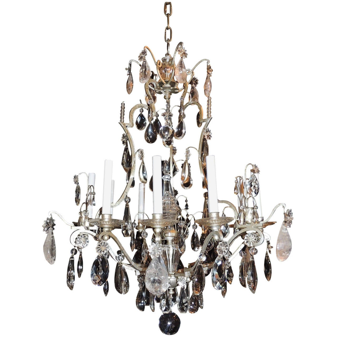 Original Bagues Nine-Light Silvered Chandelier with Rock and Faceted Crystals