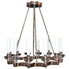 Mid-Century Modern Chrome Nickel Open Circle Twelve-Light Chandelier Fixture