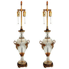 Pair of Austrian Cut Crystal Gilt Dore Bronze-Mounted Ormolu Lamps French