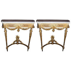 Beautiful Pair Of Antique French Carved And Giltwood Marble Top Consoles