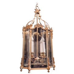 Outstanding French Doré Bronze Four-Light Neoclassical Curved Glass Lantern