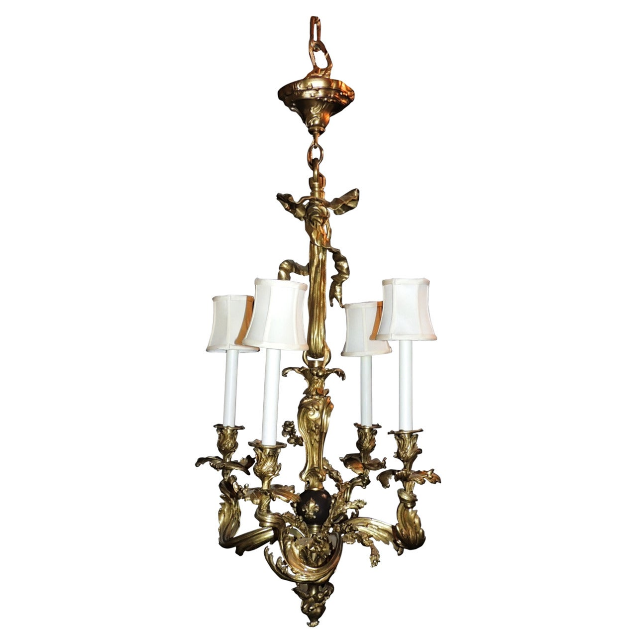 Wonderful French Rococo Doré Bronze and Patina Bow Top Ribbon Chandelier