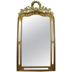 Elegant French 19th Century Carved Gilt Wood Wreath Top and Filigree Mirror