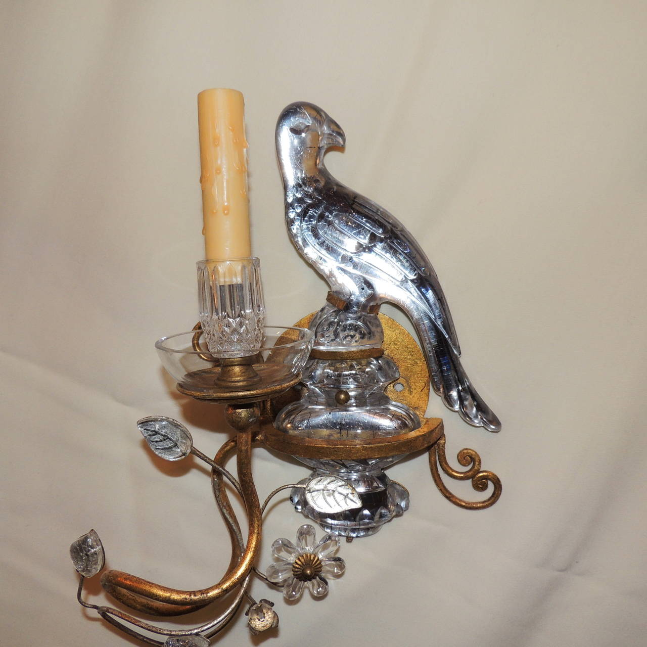 Crystal Bird Wall Sconces : Wonderful Pair of Bagues Style Vintage Gilt and Crystal Bird Sconces at 1stdibs