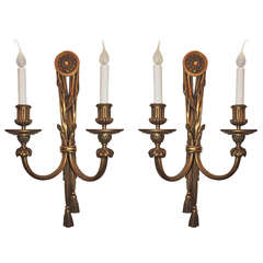 Very Fine Pair E.F. Caldwell Gilt Bronze, Tassel Two-Light Neoclassical Sconces