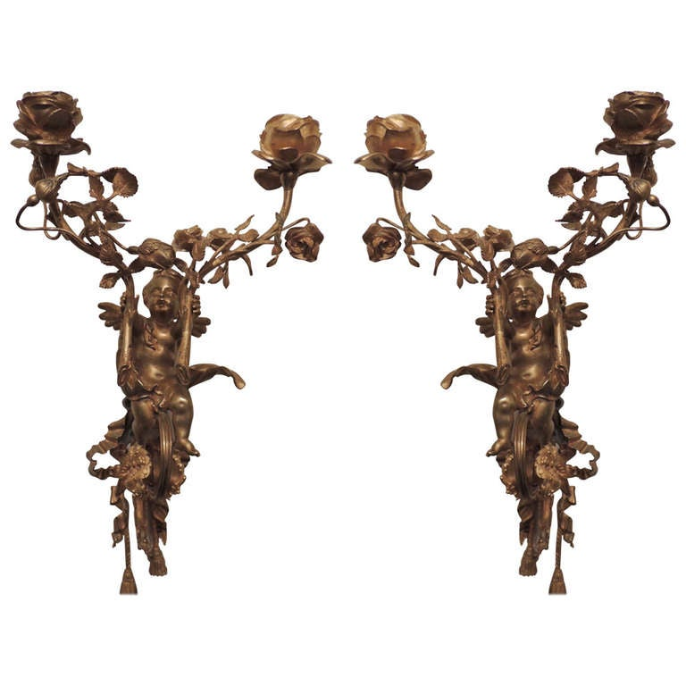 A Fine Pair Of French Antique Dore Bronze Two Arm Cherub / Putti Wall Sconces, Circa 1900 s at ...