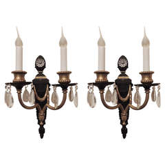 Fine Neoclassical Pair of Patina Gilt Bronze Two-Arm Wall Sconces
