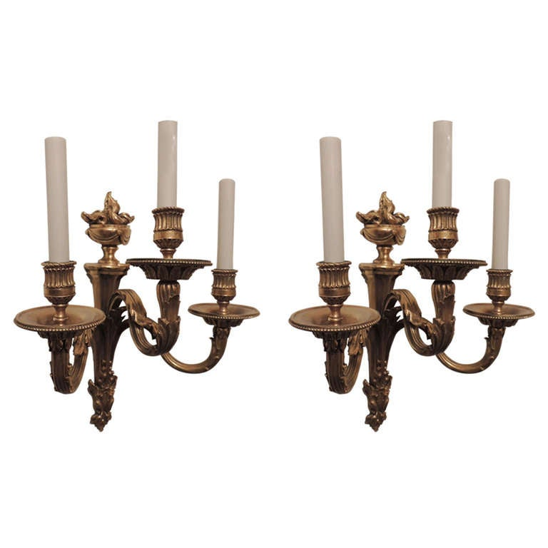 Pair of Gilt Bronze Neoclassical Three-Arm Urn Top Sconces E.F. Caldwell