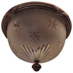 Wonderful French Gilt Bronze Crystal Glass Bowl Flushmount with Etched Stars