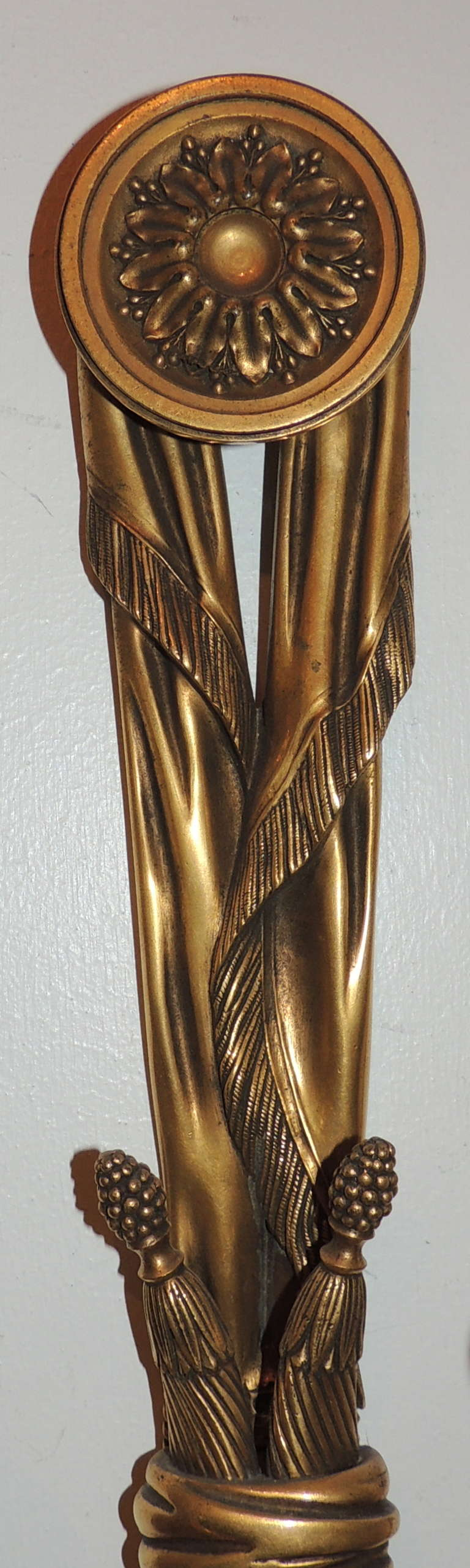 American Very Fine Pair E.F. Caldwell Gilt Bronze, Tassel Two-Light Neoclassical Sconces For Sale