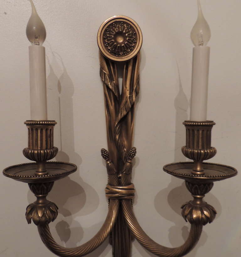 Very Fine Pair E.F. Caldwell Gilt Bronze, Tassel Two-Light Neoclassical Sconces In Excellent Condition For Sale In Roslyn, NY