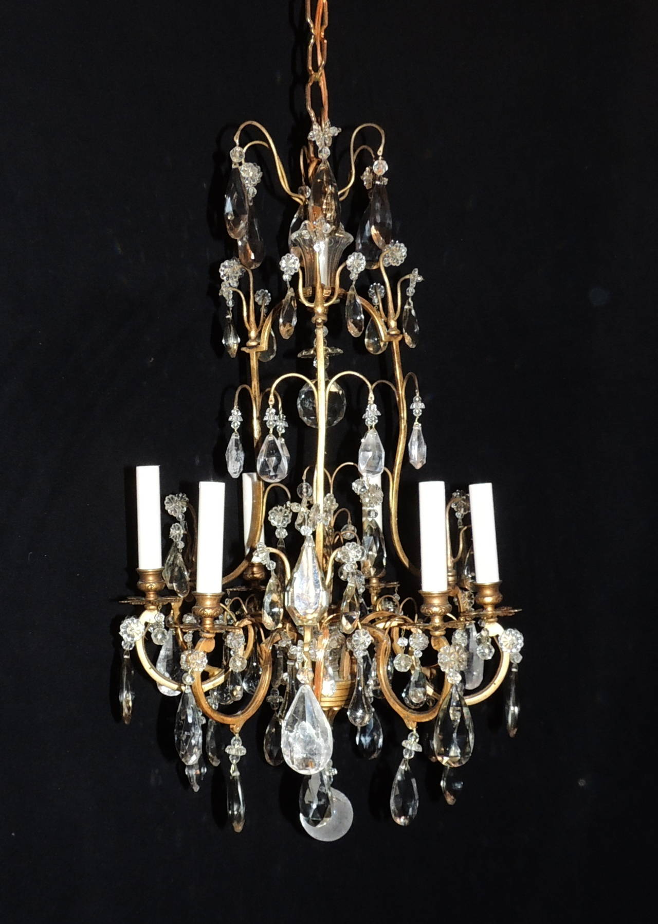Elegant French Doré Bronze and Rock Crystal Vintage Six Light