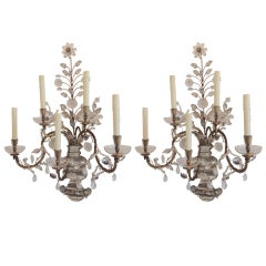 Pair of Rare Vintage Gilt Rock Crystal Bagues Five-Arm Large Jansen Sconces