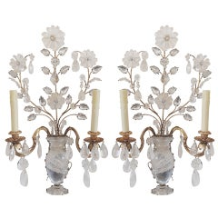 Vintage Pair of Baguès Gilt & Rock Crystal Urn Form Two-Light Wall Sconces