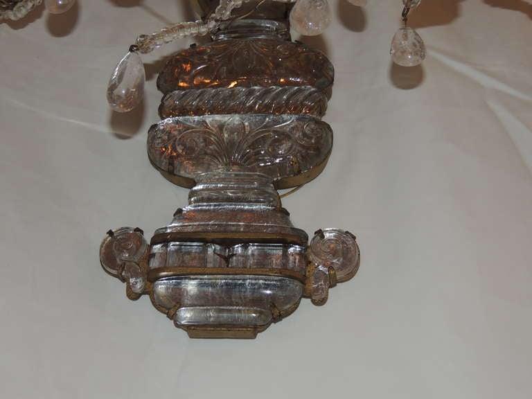 Pair of Rare Vintage Gilt Rock Crystal Bagues Five-Arm Large Jansen Sconces 7