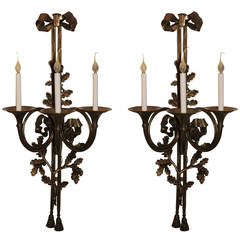 Monumental Large Pair of Bronze French Horn Flute Bow Top Tassel Sconces
