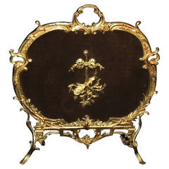 Elegant French Doré Bronze Fire Screen Bow, Horn Center Medallion Firescreen