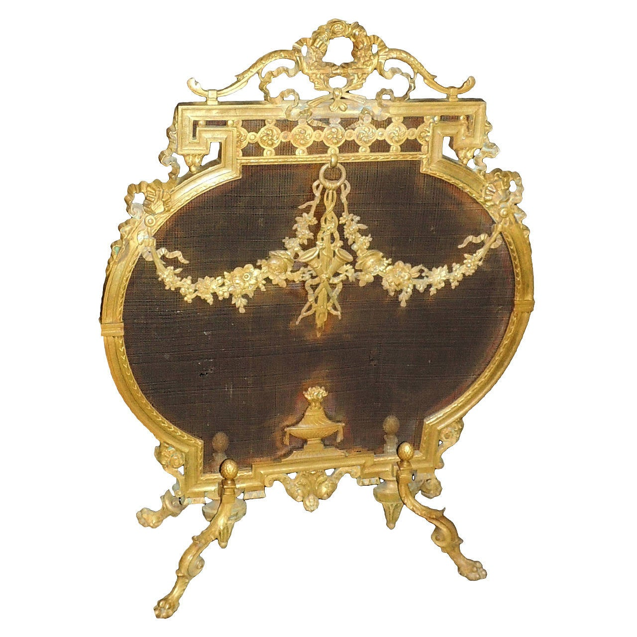 beautiful french dore bronze fireplace screen with ribbons medallion firescreen at 1stdibs. Black Bedroom Furniture Sets. Home Design Ideas
